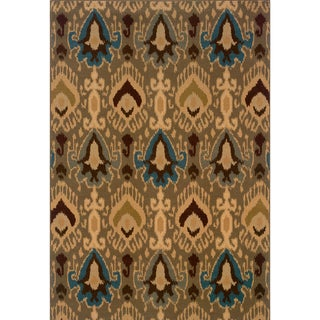 Indoor Blue/Gold Area Rug (5'3 x 7'6)