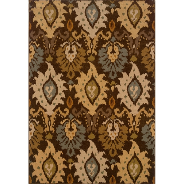 Indoor Brown/ Blue Area Rug (6'7 X 9'6)