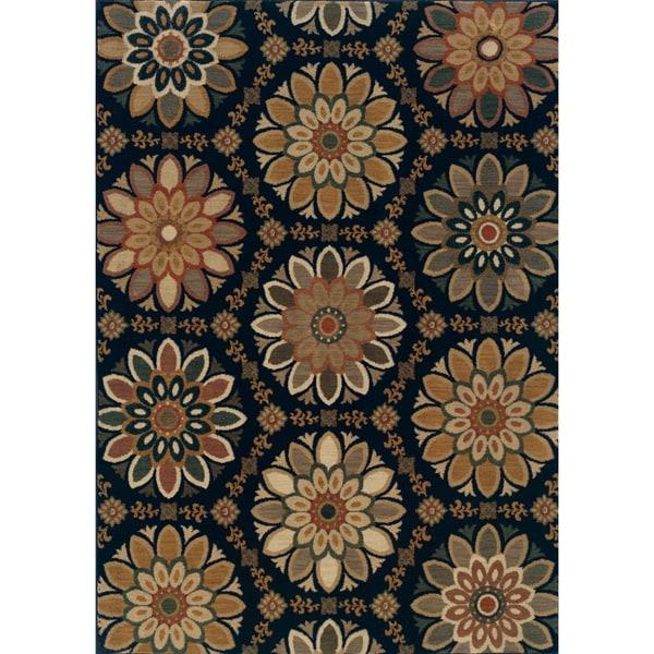 Floral Medallion Blue/ Gold Area Rug (5'3 x 7'6)