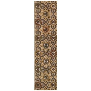 Floral Gold Area Rug (1'10 x 7'6)