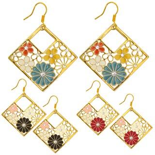 Kate Marie Goldtone Rhinestone and Enamel Diamond-shaped Flower Earrings