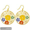 Kate Marie Goldtone Rhinestone and Enamel Flower Dangle Earrings