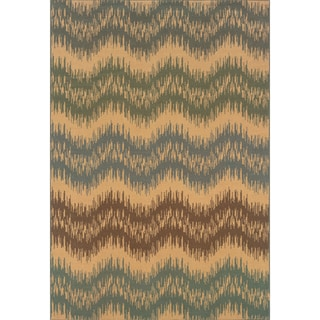 Indoor Ivory/ Blue Area Rug (6'7 x 9'6)