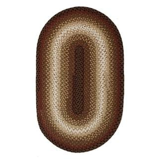 Country Cottage Brown and Cream Braided Rug (5' x 8' Oval)