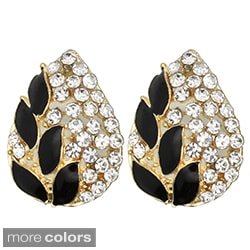 Kate Marie Goldtone Rhinestone and Enamel Leaf-Design Stud Earrings