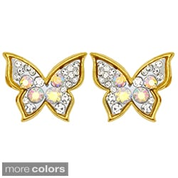 Kate Marie Goldtone Rhinestone Butterfly Fashion Earrings