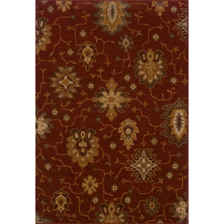 Indoor Red/ Gold Area Rug (5'3 x 7'6)