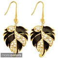 Kate Marie Goldtone Faux Pearl, Rhinestone and Enamel Leaf Earrings