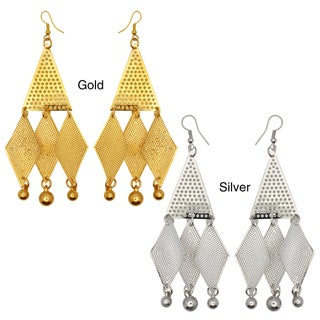 Kate Marie Goldtone or Silvertone Diamond Shape Dangle Earrings