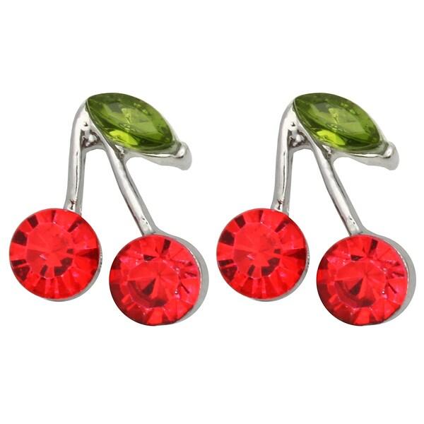 Kate Marie Silvertone Rhinestone Cherry Design Earrings
