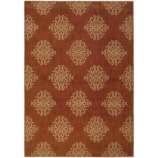Indoor Orange/ Beige Area Rug (5'3 x 7'6)