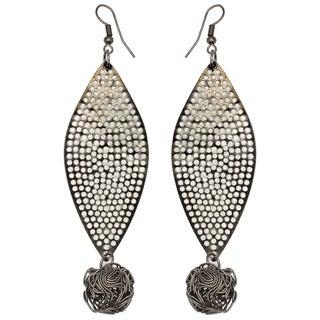 Kate Marie Black-plated Rhinestone Leaf Design Earrings