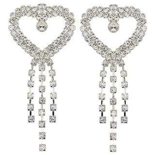 Kate Marie Silvertone Rhinestone Heart Earrings