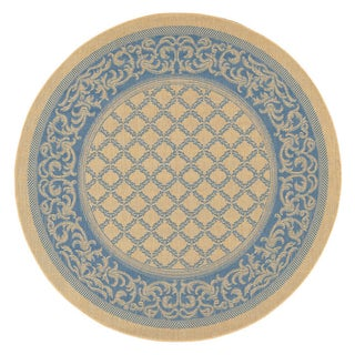 Recife Garden Lattice/ Natural Blue Rug (7'6 Round)