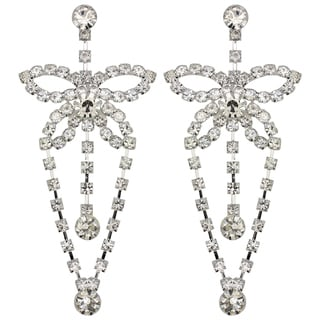 Kate Marie Silvertone Rhinestone Butterfly Earrings