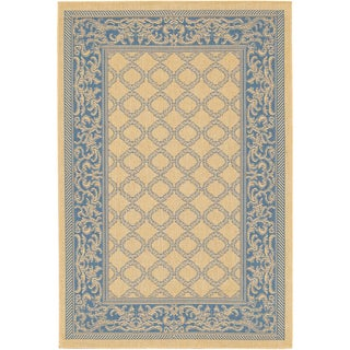 Recife Garden Lattice Natural and Blue Rug (5&#39;3 x 7&#39;6)