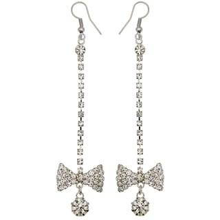 Kate Marie Silvertone Rhinestone Bow Design Earrings
