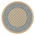 Recife Garden Lattice Natural and Blue Rug (8'6 Round)
