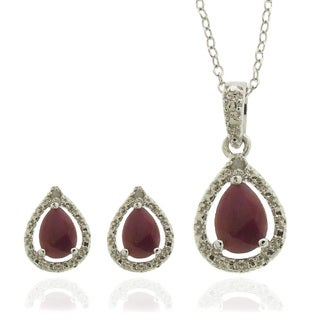 Dolce Giavonna Sterling Silver Ruby and Diamond Accent Teardrop Jewelry Set