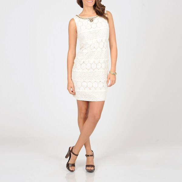 S.L. Fashions Women's Open Weave Lace Dress