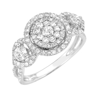 14k White Gold 3/5ct TDW Diamond Halo Ring (G-H, SI1-SI2)