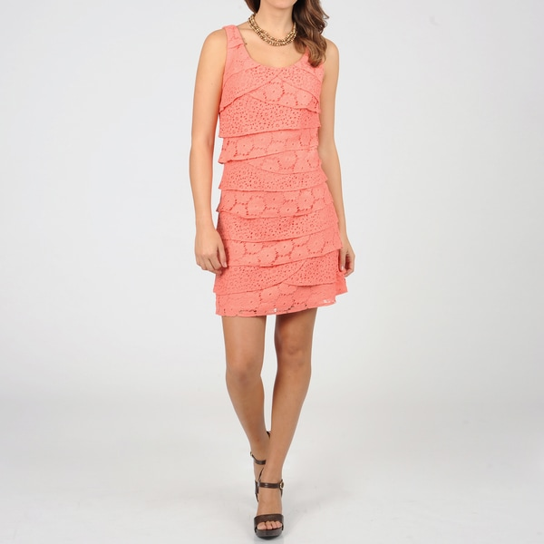 S.L. Fashions Women's Coral Lace Tiered Dress