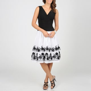 S.L. Fashions Women's White/ Black Floral Dress