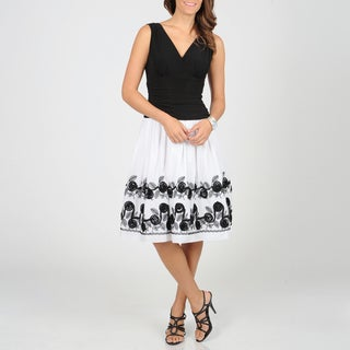 S.L. Fashions Women's White/ Black Floral Dress