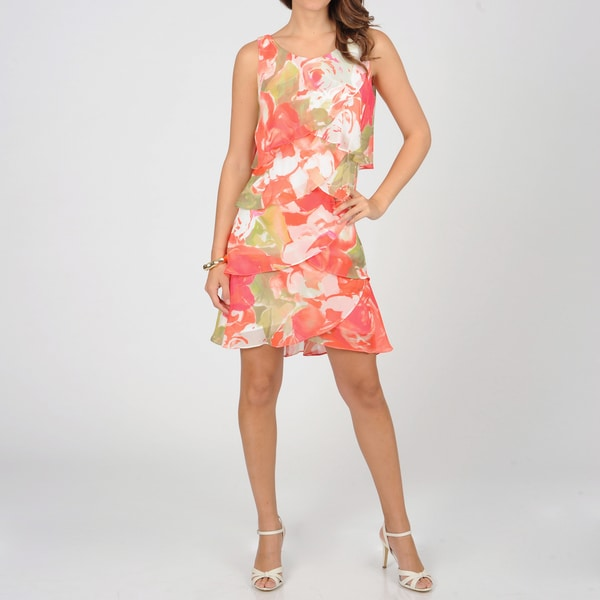 S.L. Fashions Women's Coral Floral Chiffon Tiered Dress