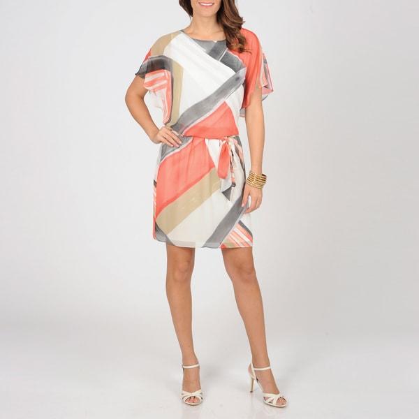 S.L. Fashions Women's Geometric Sheer Blouson Dress