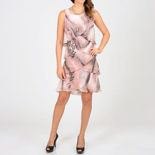 S.L. Fashions Women's Pink Animal Print Chiffon Tiered Dress