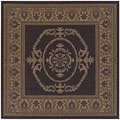 Recife Antique Medallion Black/ Cocoa Rug (7'6 x 7'6)