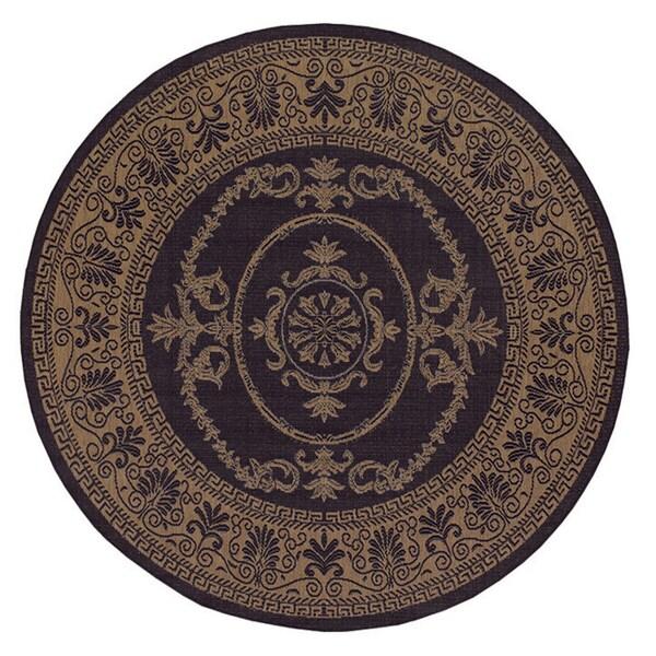 Recife Antique Medallion/ Black Cocoa Round Rug (8'6)