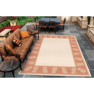 Recife Tropics/ Natural Terra-Cotta Area Rug (5'10 x 9'2)