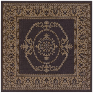 Recife Antique Medallion/ Black Cocoa Square Rug (8'6)