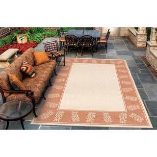 Recife Tropics/ Natural Terra-Cotta Area Rug (7'6 x 10'9)