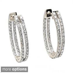 Beverly Hills Charm 14k Gold 1 1/4ct TDW Diamond Oval Hoop Earrings (H-I, I1)