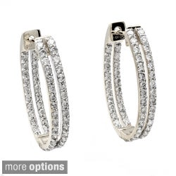 14k Gold 1 1/4ct TDW Diamond Oval Hoop Earrings (H-I, I1)