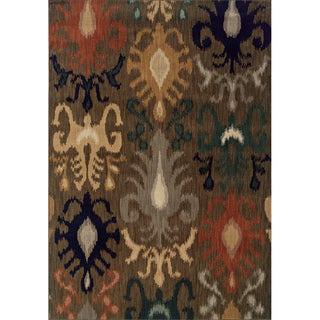 Indoor Brown Navy Area Rug (7'8 x 10'10)