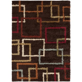 Brown Squares Contemporary Shag Rug (7'10 x 9'10)