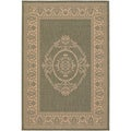 Recife Antique Medallion Green Natural Rug (5'10 x 9'2)
