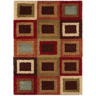 Border Squares Pecan Contemporary Area Shag Rug (7'10 x 9'10)