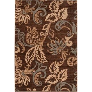 Choco Flowers Caramel Contemporary Rug (5'3 x 7'6)
