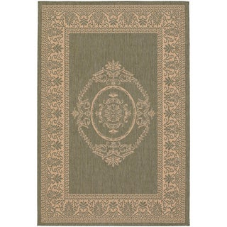 Recife Antique Medallion Green Natural Rug (7'6 x 10'9)