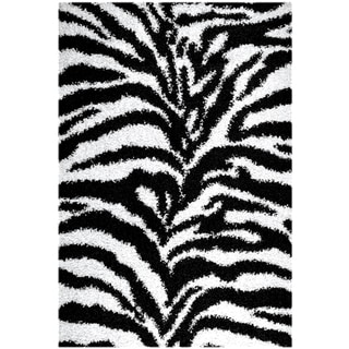 Soft Shag Contemporary Zebra Print Black and White Area Rug (5' x 7')