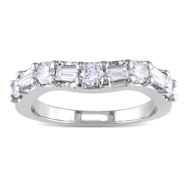 Miadora Platinum 7/8ct TDW Baguette/Round Diamond Eternity Band (G-H, SI1-SI2)