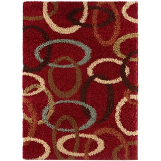 Red Ovals Cumin Contemporary Shag Rug (7'10 x 9'10)