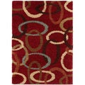 Red Ovals Cumin Contemporary Shag Rug (3' x 5')