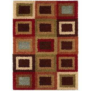 Border Squares Pecan Contemporary Shag Rug (5'3 x 7'3)