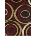 Swirls Brown Contemporary Area Shag Rug (3' x 5')